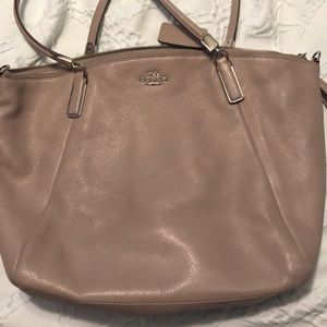 Gently used tan Coach bag
